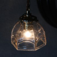 画像1: ヴィンテージレトロな六角ガラスシェード付きペンダントライト|アンティークガラス吊下げ照明ランプ