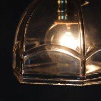 画像2: ヴィンテージレトロな六角ガラスシェード付きペンダントライト|アンティークガラス吊下げ照明ランプ