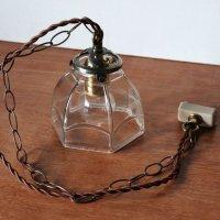 画像3: ヴィンテージレトロな六角ガラスシェード付きペンダントライト|アンティークガラス吊下げ照明ランプ