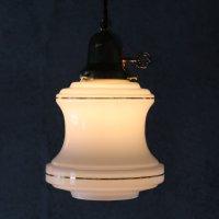 画像1: ミッドセンチュリーミルクガラスシェード付ペンダントライト|アンティークガラス吊下げ照明ランプ