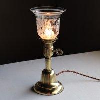 画像1: アンティーク真鍮製テーブルライト卓上照明 USAヴィクトリアンガラスシェード&GE社製ソケット