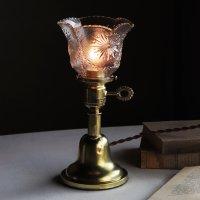 画像1: アンティーク真鍮製テーブルライト卓上照明|USA結晶模様のプレスガラス六角シェード&GE社製ソケット