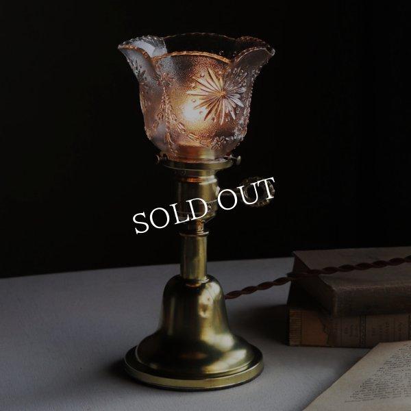 アンティーク真鍮製テーブルライト卓上照明|USA結晶模様のプレスガラス六角シェード&GE社製ソケット