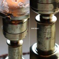 画像2: アンティーク真鍮製テーブルライト卓上照明|USA結晶模様のプレスガラス六角シェード&GE社製ソケット