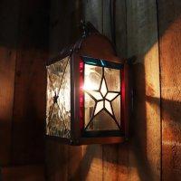 画像1: USAヴィンテージランタンランプ・リメイクステンドグラス壁掛け屋内照明|ブラケットライト