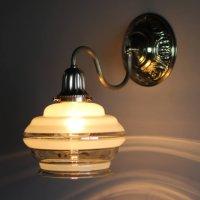 画像1: USAヴィンテージ金彩アンバーガラスシェードのブラケットライト|コロニアル壁掛け照明
