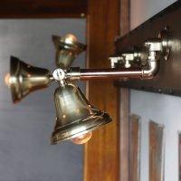 画像2: 工業系壁掛け照明|真鍮製山型シェード&銅製配管インダストリアルブラケットライト