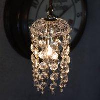 画像1: ヴィンテージミニシャンデリアプリズムペンダントライト【クリア】|アンティークガラス吊下げ照明ランプ透明