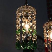 画像1: ヴィンテージミニシャンデリアプリズムペンダントライト【グリーン】|アンティークガラス吊下げ照明ランプ緑