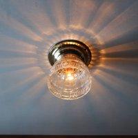 画像1: USAヴィンテージガラスシェード&真鍮製シーリングライト|アンティーク天井照明