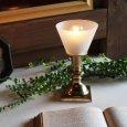 アンティーク卓上照明 USAヴィンテージフロストガラスミニ真鍮製テーブルライト
