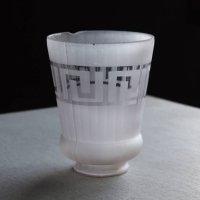 画像2: 【薄紫】USAヴィンテージテーブルライト照明・雷文柄フロストガラスシェード|アンティーク卓上ランプ
