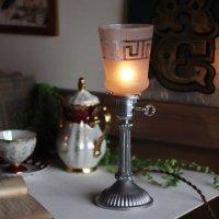画像1: 【薄紫】USAヴィンテージテーブルライト照明・雷文柄フロストガラスシェード|アンティーク卓上ランプ