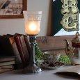 【薄緑】USAヴィンテージテーブルライト照明・雷文柄フロストガラスシェード アンティーク卓上ランプ