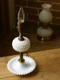 画像1: USAヴィンテージ卓上照明ホブネイルミルクガラス&真鍮のテーブルライト|アンティークテーブルランプ
