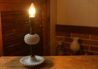 画像3: USAヴィンテージ卓上照明ホブネイルミルクガラス&真鍮のテーブルライト|アンティークテーブルランプ