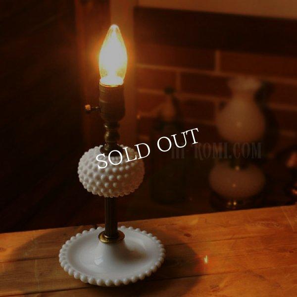 画像1: USAヴィンテージ卓上照明ホブネイルミルクガラス&真鍮のテーブルライト|アンティークテーブルランプ (1)