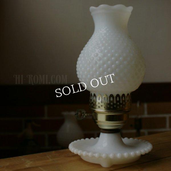 画像1: USAヴィンテージ卓上照明ホブネイルミルクガラス鍵スイッチ付テーブルライト|アンティークテーブルランプ (1)