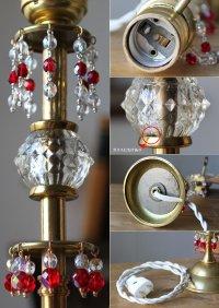 画像2: チェコビーズ付ヴィンテージ鍵型スイッチ・ガラス&真鍮のテーブルランプ|アンティークヴィンテージ卓上照明テーブルライト