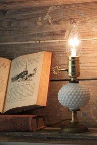 画像1: USAヴィンテージ卓上照明鍵スイッチ付ホブネイルミルクガラス&真鍮のテーブルライト アンティークテーブルランプ
