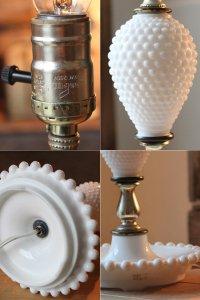画像3: USAアメリカンヴィンテージミルクガラス製ホブネイルテーブルライト|卓上照明テーブルランプ