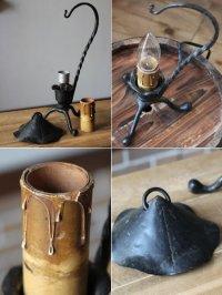 画像2: USAヴィンテージ卓上照明アイアン製キャンドルテーブルランプ|鉄製蝋台テーブルライトアメリカンカントリー