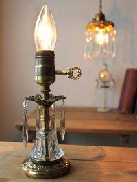 画像1: USAヴィンテージ卓上照明アロープリズム付真鍮製ミニテーブルライト|ヴィクトリアンランプシャンデリア槍型ドロップ