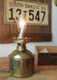 画像1: USAヴィンテージ卓上照明真鍮製オイルランプ型ミニテーブルライト|オールドアメリカンランプガレージ工業系