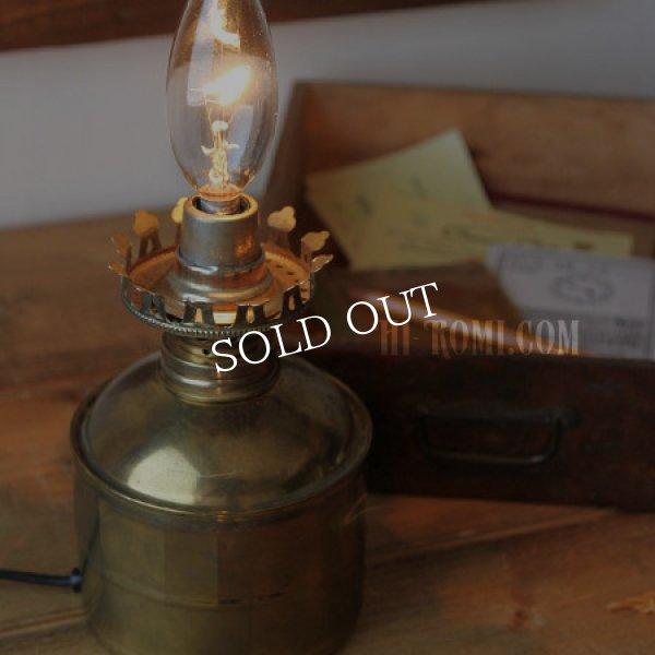 画像1: USAヴィンテージ卓上照明真鍮製オイルランプ型ミニテーブルライト|オールドアメリカンランプガレージ工業系 (1)