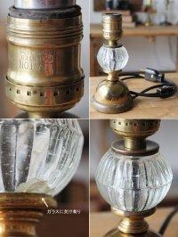 画像2: USAヴィンテージ卓上照明レトロな気泡ガラスと真鍮のテーブルランプ|オールドアメリカンアンティークライト真鍮
