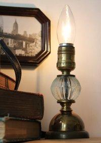 画像3: USAヴィンテージ卓上照明レトロな気泡ガラスと真鍮のテーブルランプ|オールドアメリカンアンティークライト真鍮