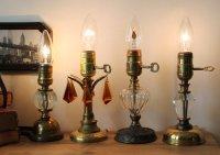 画像1: USAヴィンテージ卓上照明レトロな気泡ガラスと真鍮のテーブルランプ|オールドアメリカンアンティークライト真鍮