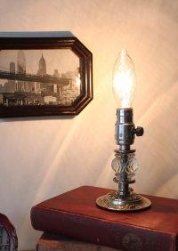 画像1: USAヴィンテージ卓上照明レトロなガラス飾りのミニテーブルランプ|オールドアメリカンアンティークライト真鍮豆ライト