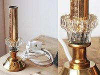 画像2: USAヴィンテージ卓上照明クリアガラスと真鍮のキャンドルランプ|ヴィクトリアンアンティークテーブルライト真鍮