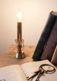 画像1: USAヴィンテージ卓上照明クリアガラスと真鍮のキャンドルランプ|ヴィクトリアンアンティークテーブルライト真鍮