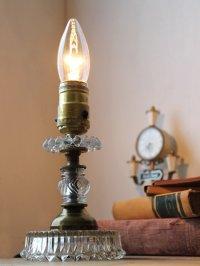画像1: ヴィンテージガラスランプ照明ライト/ホブネイルクリスタルアンティーク