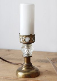画像3: USAヴィンテージ卓上照明筒型ミルクガラスシェードのミニテーブルライト|アンティークナイトランプ