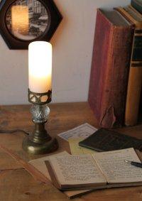 画像1: USAヴィンテージ卓上照明筒型ミルクガラスシェードのミニテーブルライト|アンティークナイトランプ