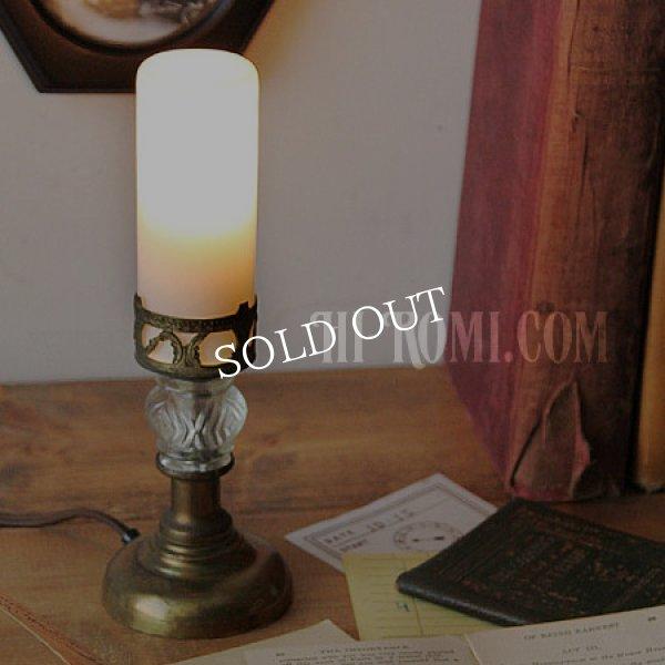 アンティークテーブルランプ|筒型シェードミニ卓上照明テーブルライト