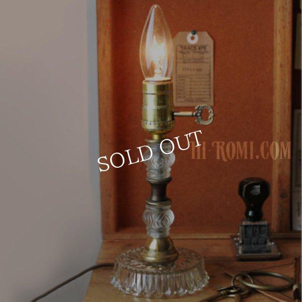 画像1: USAヴィンテージ真鍮卓上照明鍵付カットが美しいガラス装飾のテーブルランプ|アンティークヴィクトリアンテーブルライト (1)