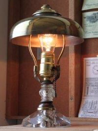 画像1: USAミッドセンチュリー卓上照明カットガラス&ラウンドシェード付テーブルランプ|スチームパンクデスクライトヴィンテージ60's