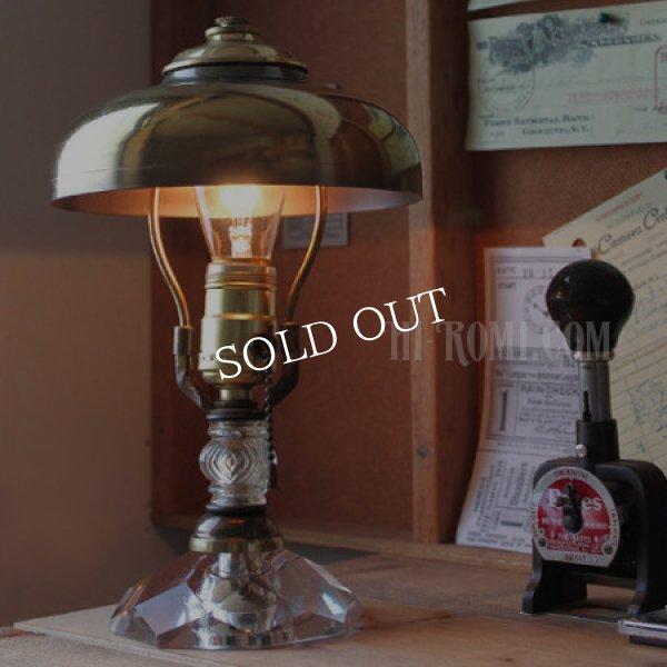 画像1: USAミッドセンチュリー卓上照明カットガラス&ラウンドシェード付テーブルランプ|スチームパンクデスクライトヴィンテージ60's (1)