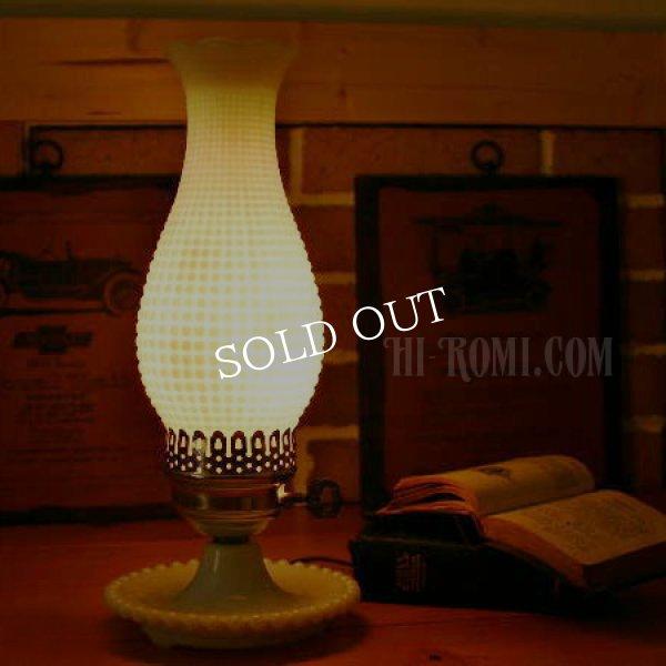画像1: USAヴィンテージコーンホブネイルミルクガラス製テーブルライト (1)