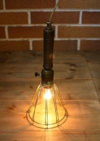 画像1: 工業系ウッドハンドルトラブルライト|インダストリアル照明USA