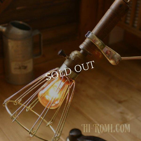 画像1: 工業系ウッドハンドルトラブルライト|インダストリアル照明USA (1)