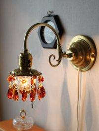 画像3: アンバーガラスプリズム付真鍮フレームのブラケットライト|照明