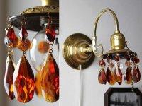 画像1: アンバーガラスプリズム付真鍮フレームのブラケットライト|照明