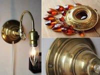 画像2: アンバーガラスプリズム付真鍮フレームのブラケットライト|照明