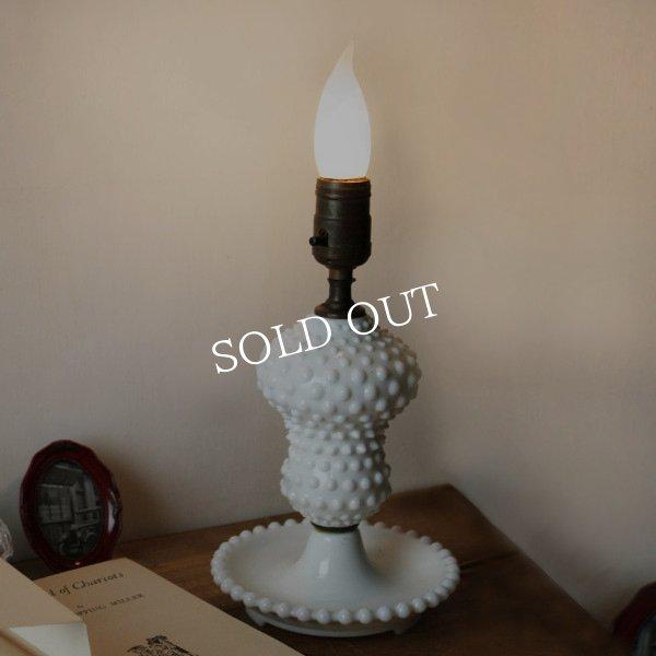 アンティークテーブルランプ ホブネイルミルクガラス卓上照明ライト