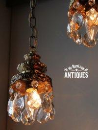 画像1: USAヴィンテージガラス製ダブルカットプリズムミニシャンデリア/アンティークランプ